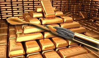 слитки, окрашенные под золото